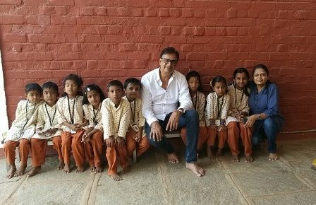 Mr Seolekar spends some quality time with kids